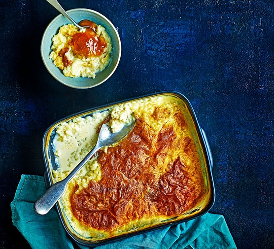 Baked rice pudding in a large baking dish