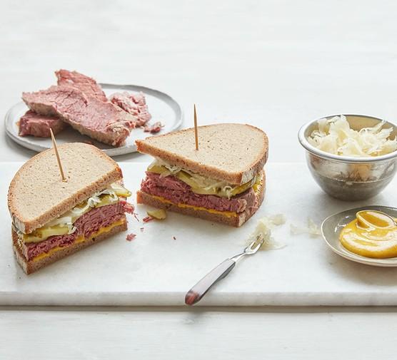 Simple salt beef in a sandwich
