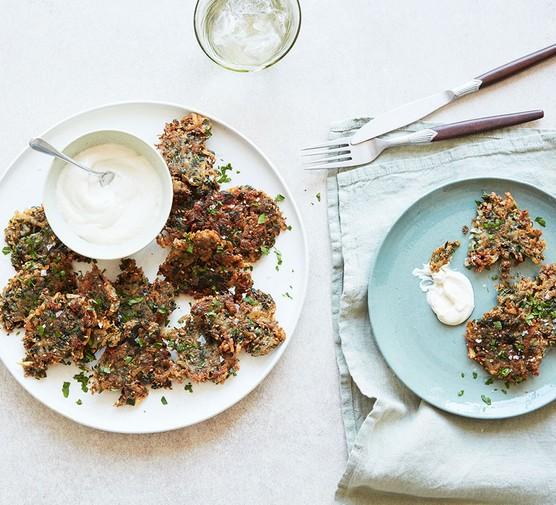 Za'atar and herb potato latkes