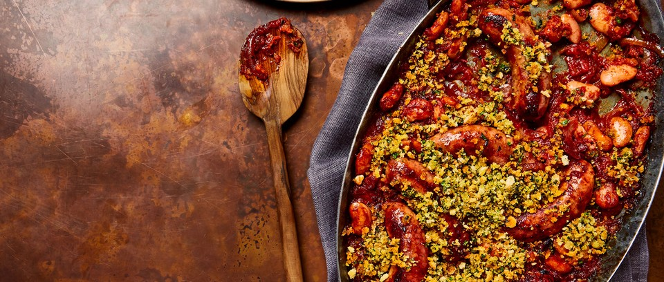One-pot sausage casserole in pot