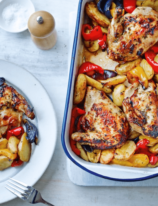 One-pot roasted chicken with sweet peppers by Annabel Karmel