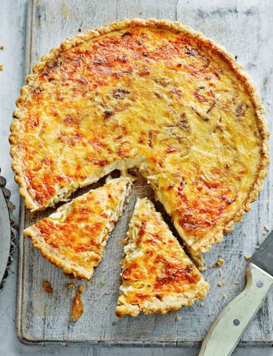 Family friendly gruyere cheese & onion tart