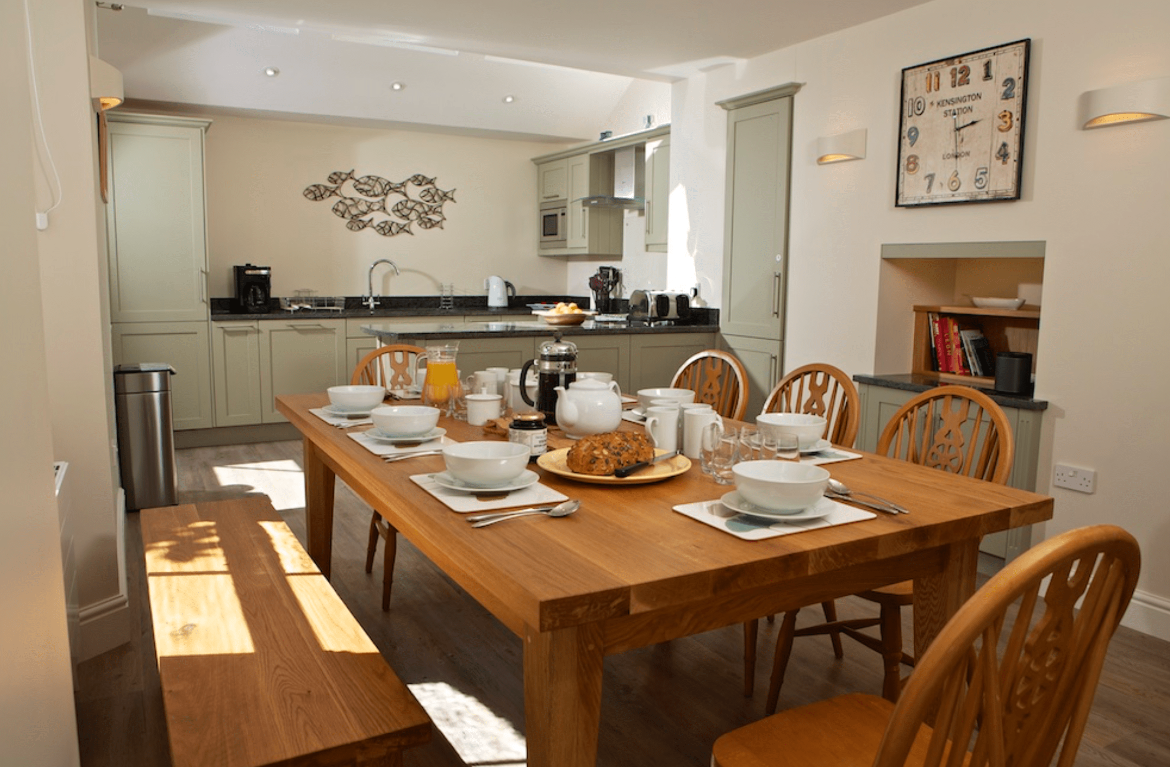 An open plan kitchen and dining room