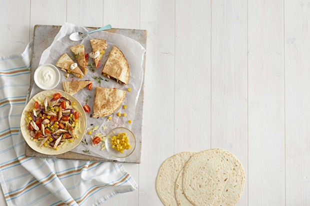 Chicken, tomato & sweetcorn quesadillas by Annabel Karmel