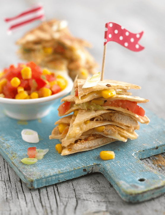 Chicken, tomato & sweetcorn quesadillas by Annabel Karmel