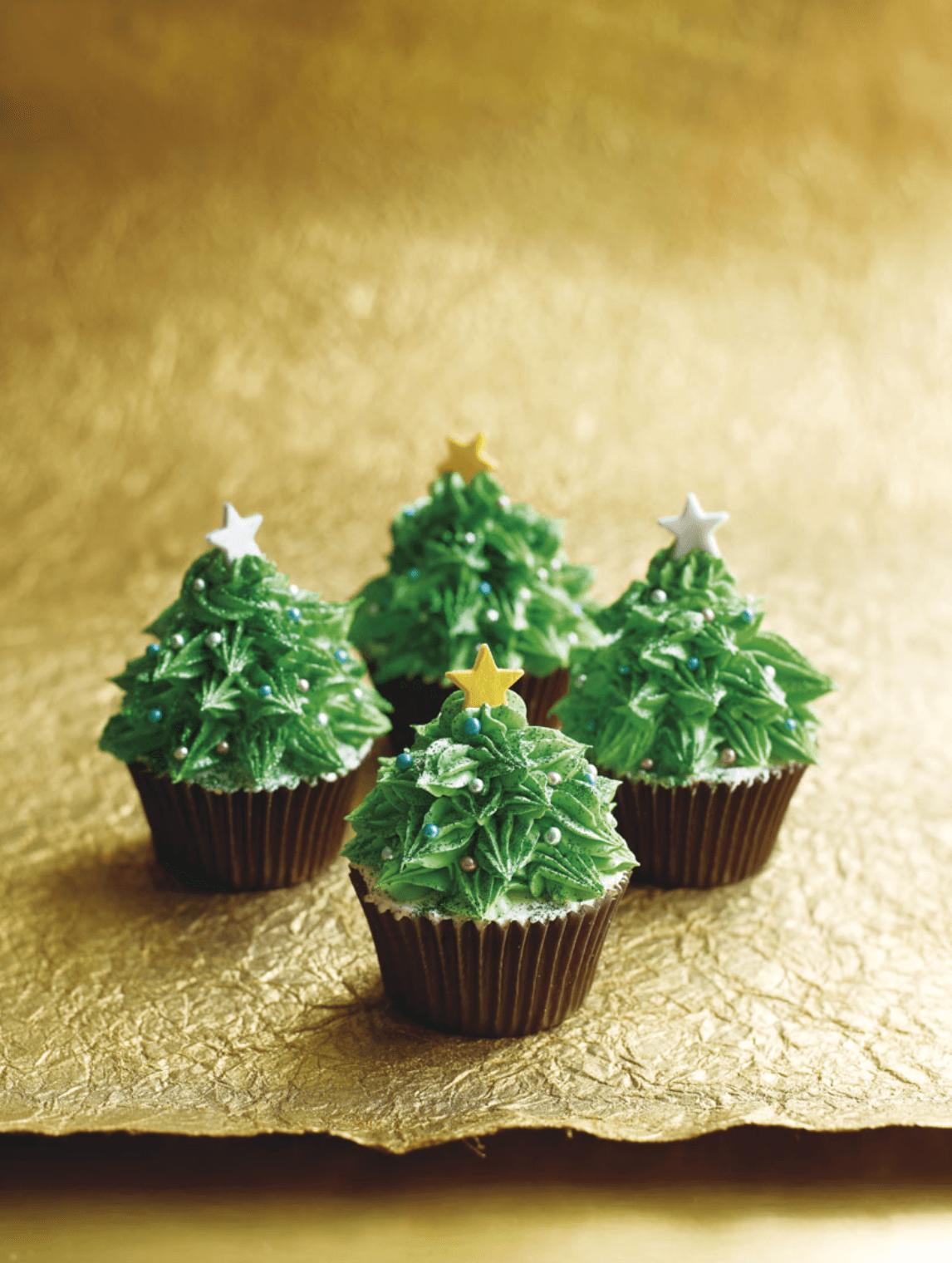 Cute Christmas Trees Cupcakes