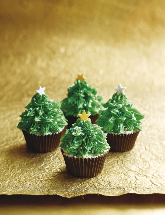 Cute Christmas Trees Cupcakes