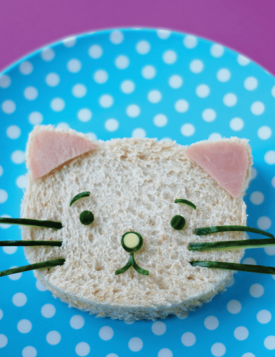 Fun packed lunches: cat shaped sandwich