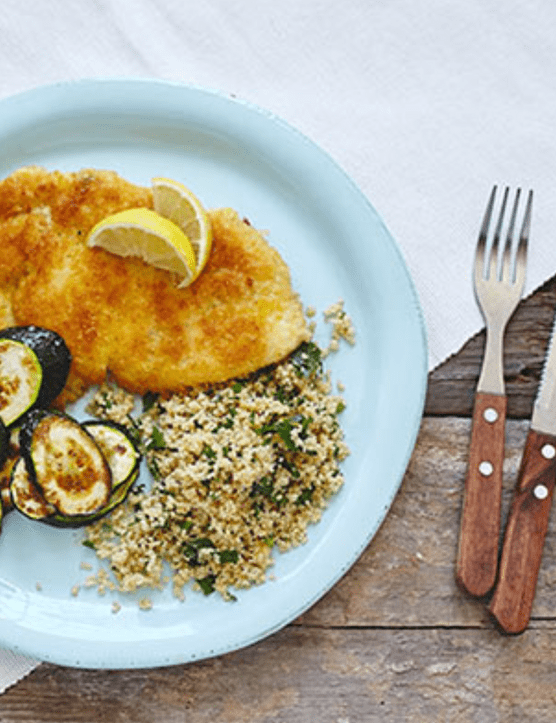 Chicken schnitzel with herbed couscous and lemon mayo recipe, by Marley Spoon