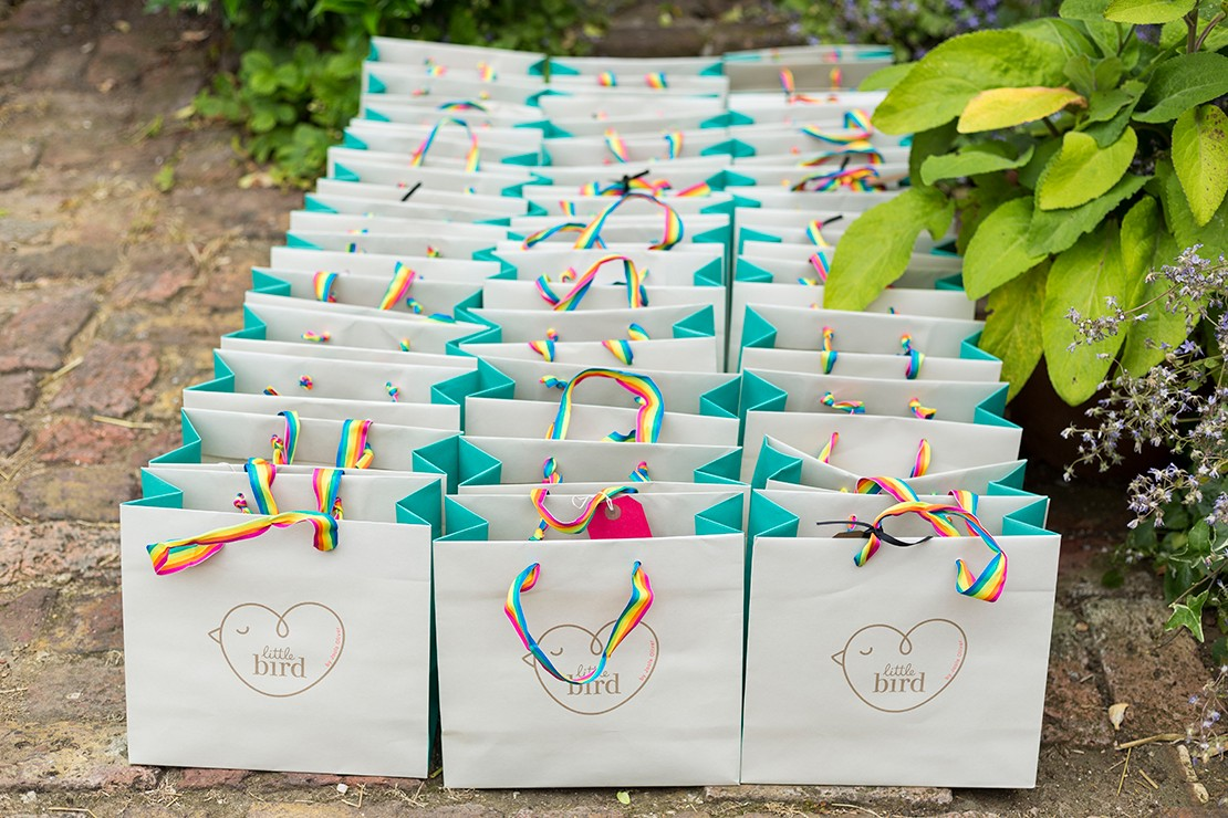 Each goody bag contained a bespoke gift of Little Bird clothing and iron on patches