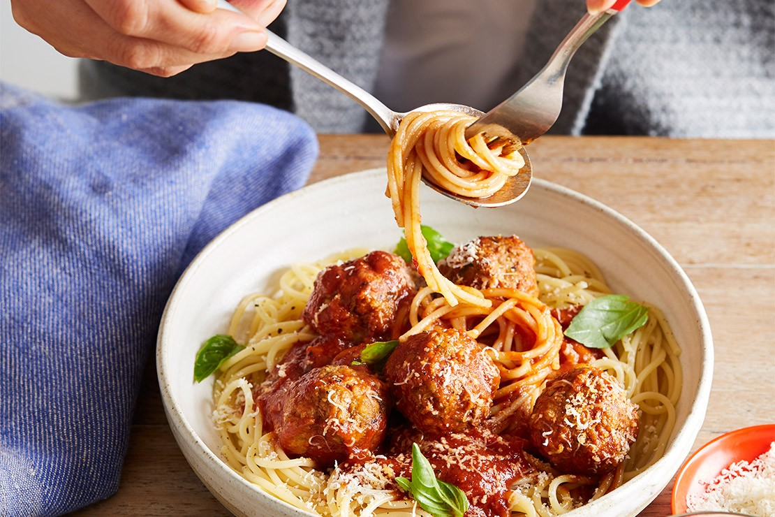 Meatballs and Spaghetti with hidden vegetables for children