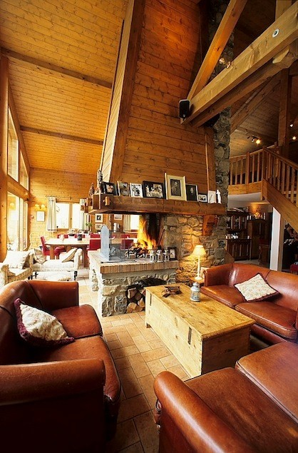 The roaring fire is the heart of the chalet