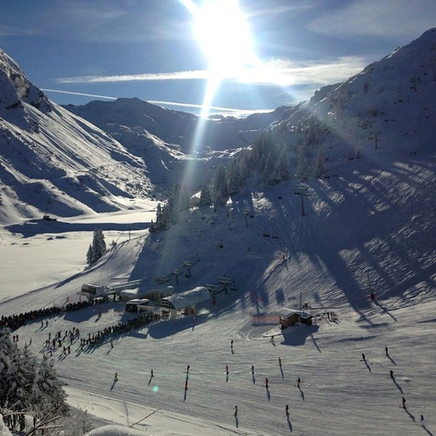 The pistes at Avoriaz sparkle in the sun