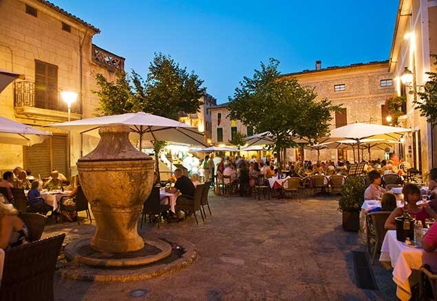 Atmospheric Pollenca Old Town has lots of places to eat