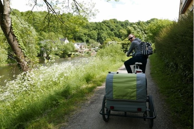 The towpath along the river is perfect for trailers and children to cycle. Photo: Alex Lloyd