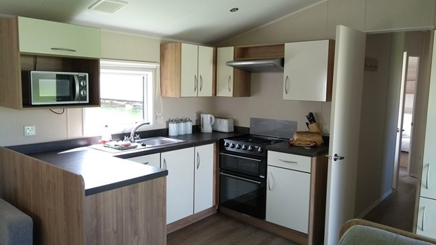 Inside one of the smart and comfortable caravans at Newquay View Resort