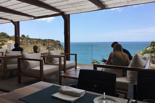 The Med bistro terrace looks out over the cliffs