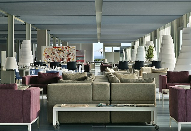 The open-plan reception, dining and bar area is indicative of free-flowing spirit of the hotel