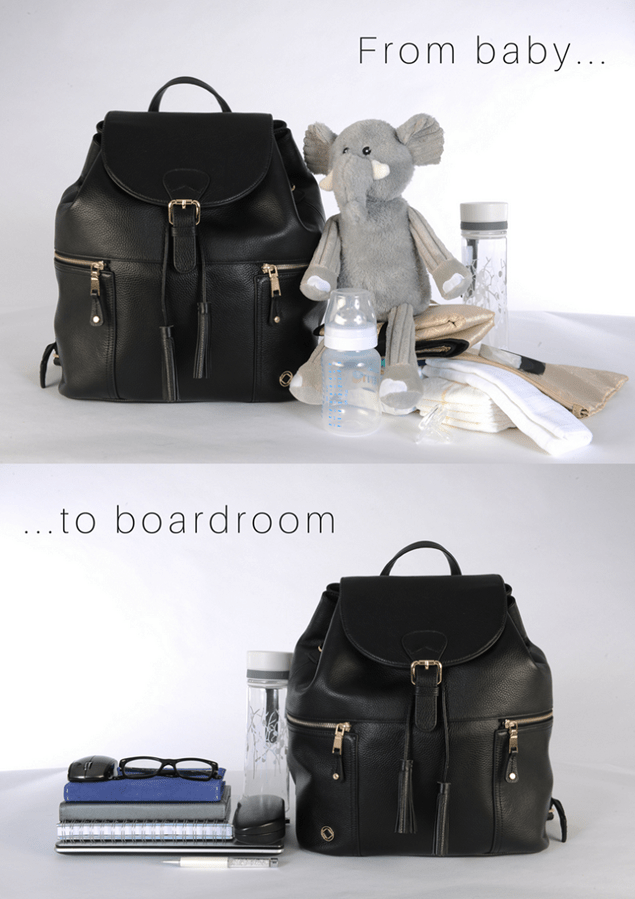 KeriKit Thor Black Leather Changing Backpack, £275