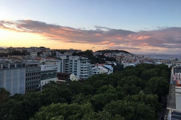 Sunrise over Lisbon - amazing views from the Sky Bar
