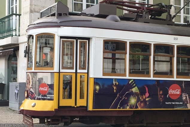 Trams criss-cross the Lisbon streets