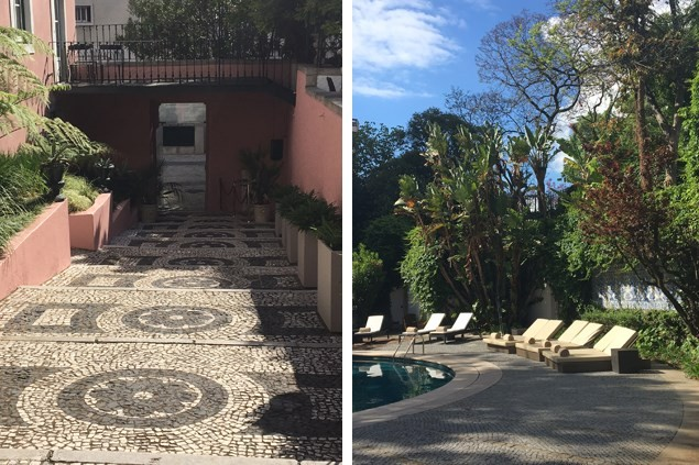 Hidden behind a pink wall and cobbled steps is the pool