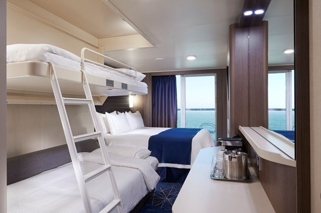 The ship's mini-suites are roomy for families at sea