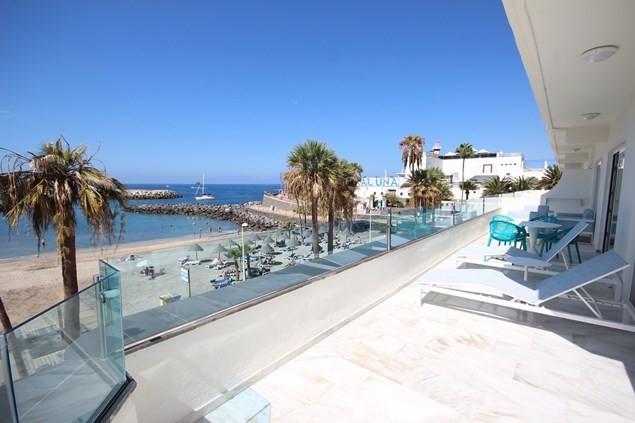The spacious balcony of an Excellence room at Hovima La Pinta Family Hotel. Photo: Alex Lloyd