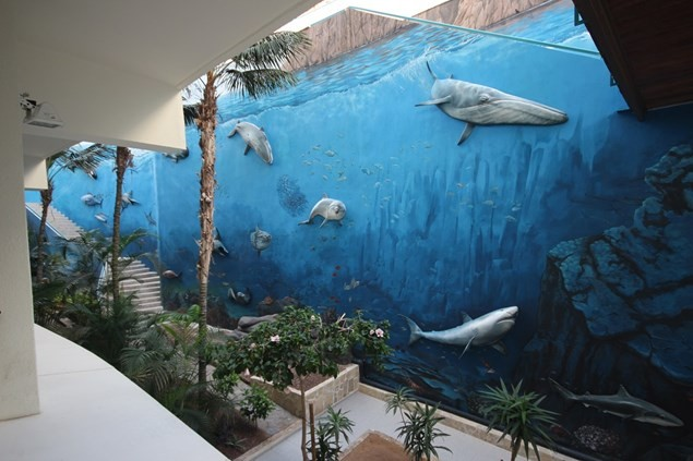The spectacular sea life mural in the hotel's communal courtyard area. Photo: Alex Lloyd