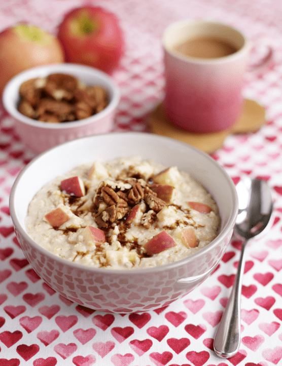 Pink Lady Apple porridge with pecans & cinnamon