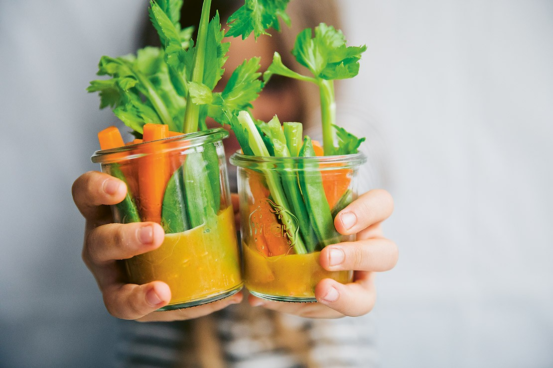 Vegetable Snack Jars with Gold Dip