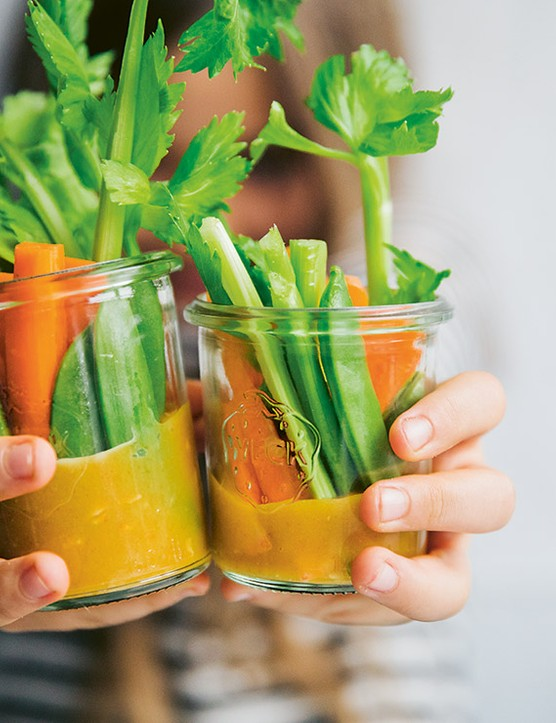 Vegetable Snack Jars with Gold Dip