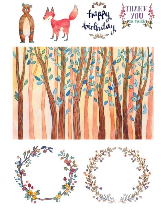 Free woodland animals cardmaking printables 01