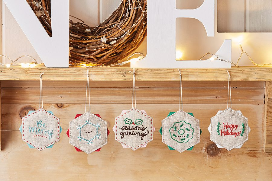 Easy embroidered Christmas decorations