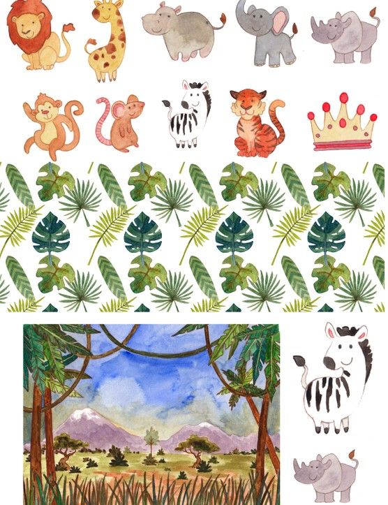 Free African safari printable papers 01