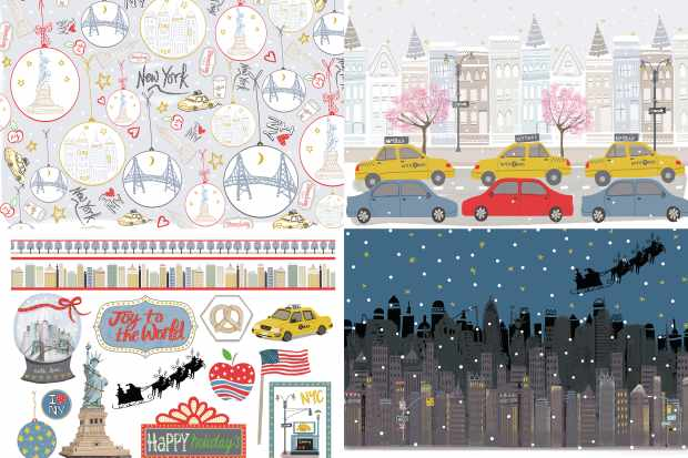 Christmas in New York patterned papers