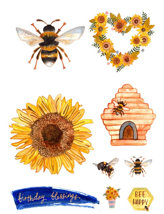 Free bee and sunflower printables-02