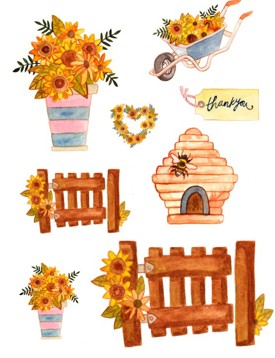 Free bee and sunflower printables-05