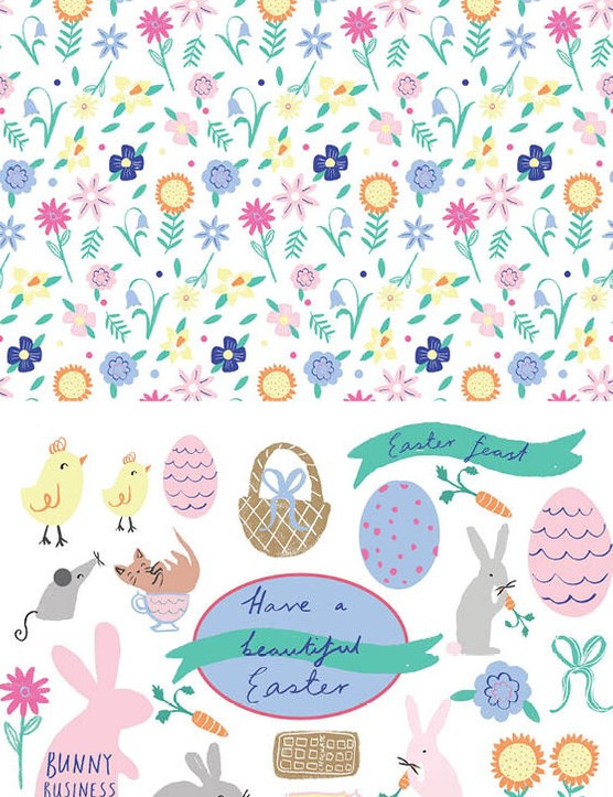 Free cute Easter patterned papers 3