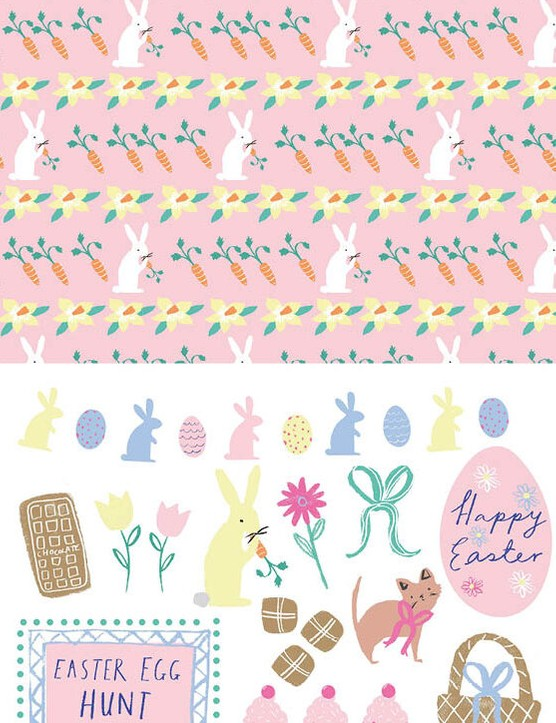 Free cute Easter patterned papers 4