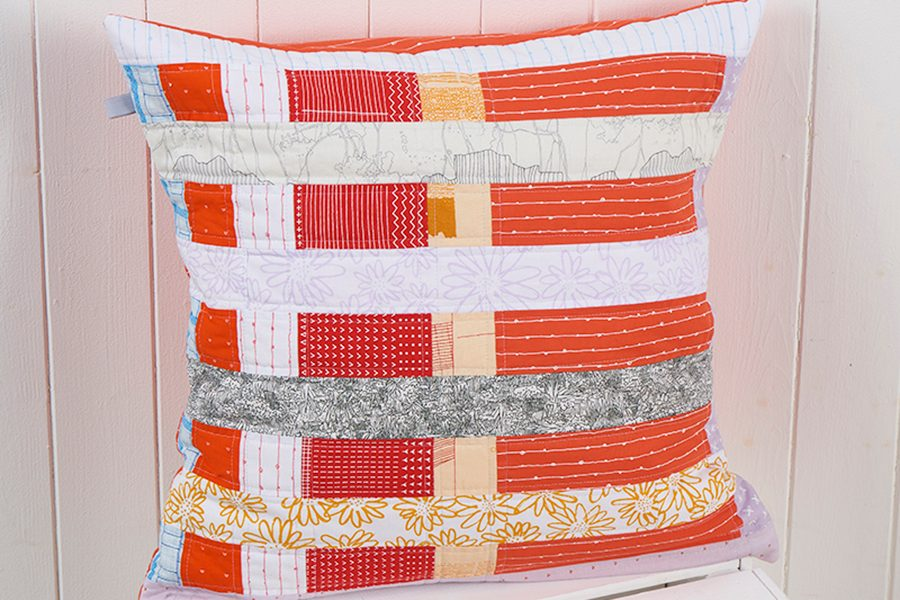 Easy stripe patchwork cushion