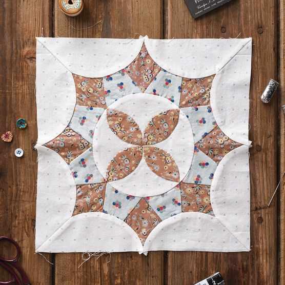 Magnolia Blossom Hand Pieced Quilt Block