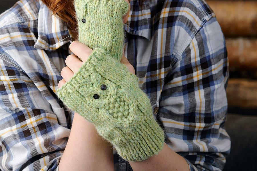 7. Owl fingerless gloves knitting pattern