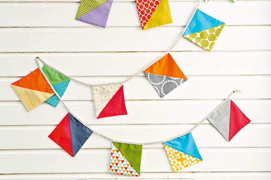 How to sew patchwork bunting