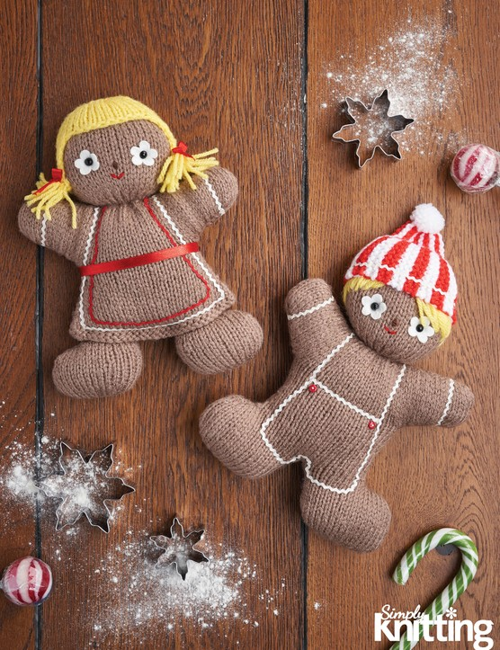 Simply Knitting 192 gingerbread toys pattern