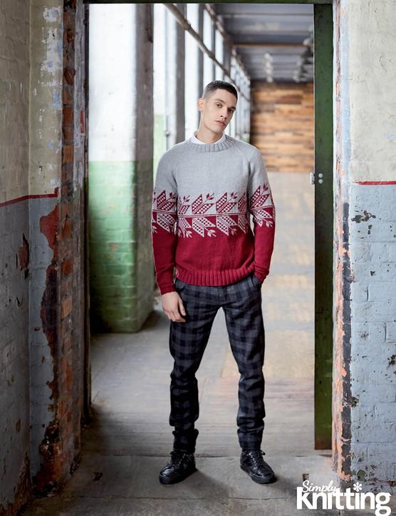 Simply Knitting 192 men's Nordic jumper pattern
