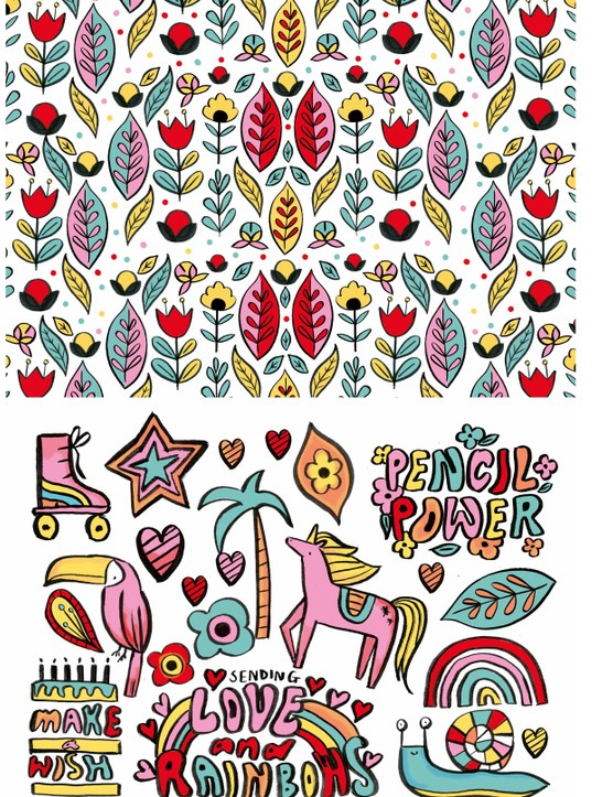 Bright and colourful crafting patterned papers 2