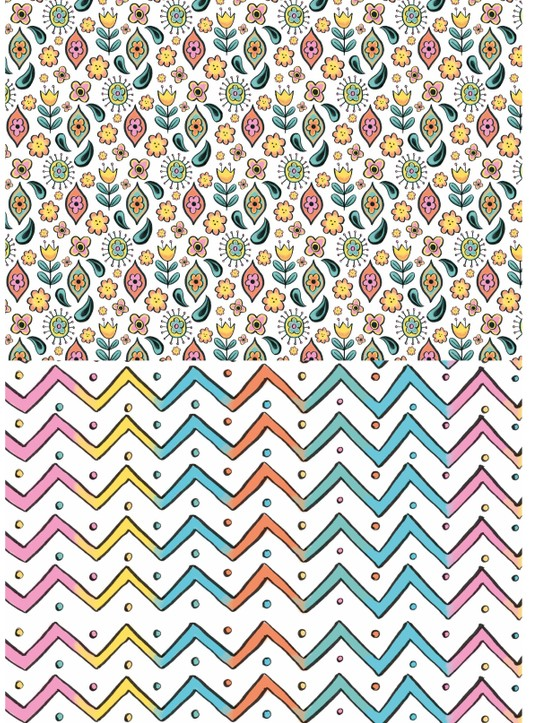 Bright and colourful crafting patterned papers 4