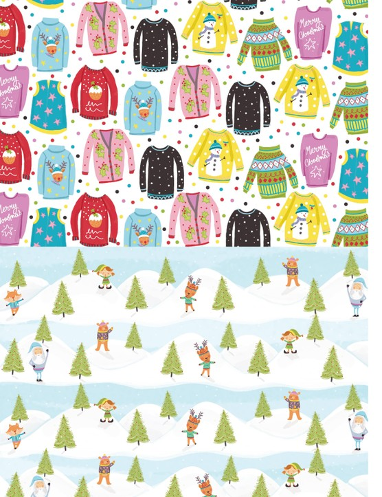 Free Christmas jumper patterned papers 1