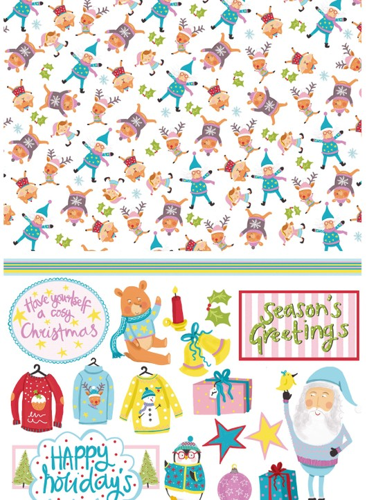 Free Christmas jumper patterned papers 2